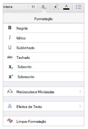 Opções de formatação de texto