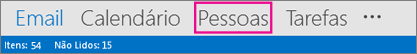 Barra de navegação do Outlook - Pessoas