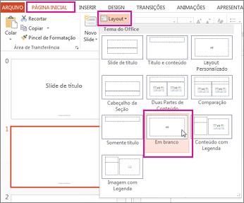 Reaplicar um layout alterado no Modo de Exibição de Slide Mestre
