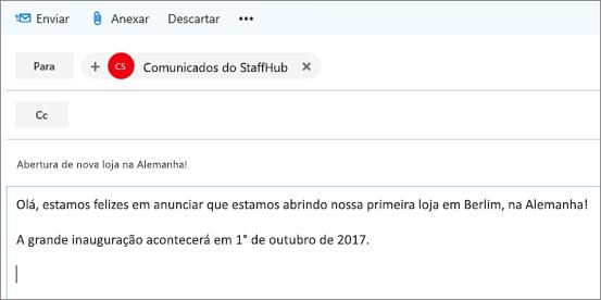 Exemplo de comunicado