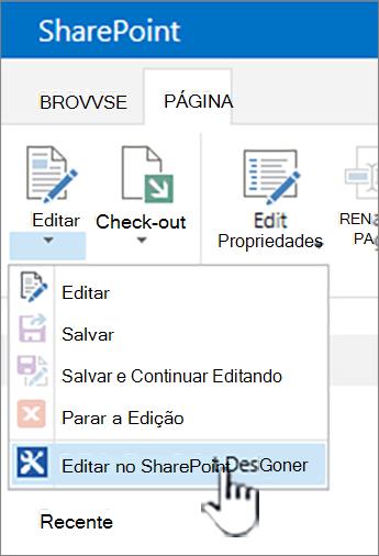 Selecionando o SharePoint Designer no menu Editar