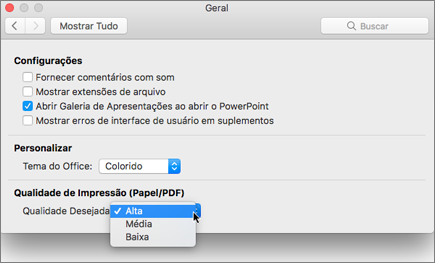 Definir a qualidade de impressão do PDF como alto, médio ou baixo