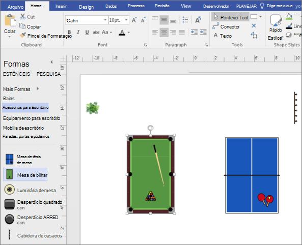 Arraste uma forma de Pool de tabela para a página