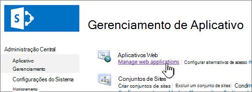 Abrir as configurações de aplicativo web