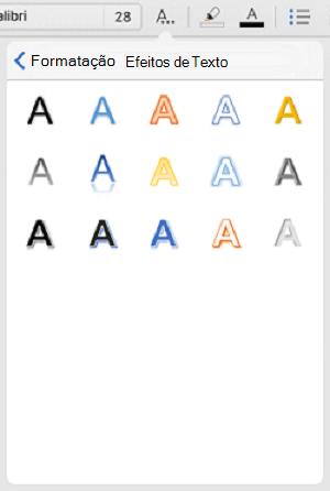 Efeitos de Texto na guia Página Inicial