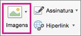 A opção Imagens é realçada na guia Mensagem.