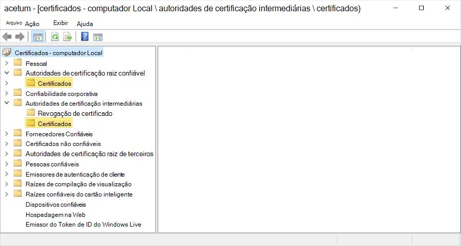 Hierarquia de certificados mostrada no computador Local