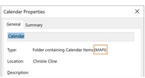 Você pode verificar se seu calendário está usando a nova interface REST ou a interface MAPI.