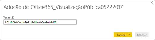 Insira a ID do locatário para abrir o arquivo .pbit