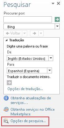 Captura de tela do painel de tarefas Pesquisar com o link Opções de pesquisa realçado na parte inferior do painel