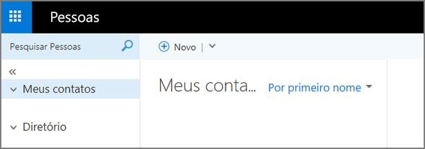 Uma imagem de como a página Pessoas é exibida no Outlook Web App