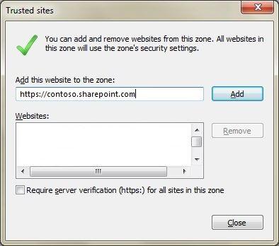A caixa de diálogo de sites confiáveis