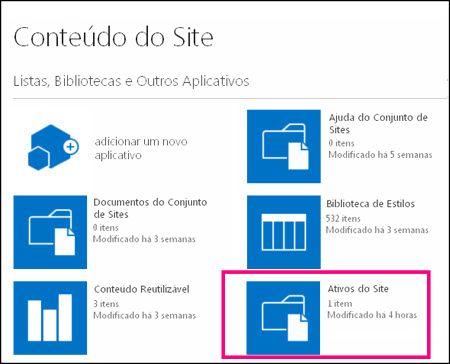 Página de Conteúdos do Site em um site simples do SharePoint Online, realçando a peça Ativos do Site