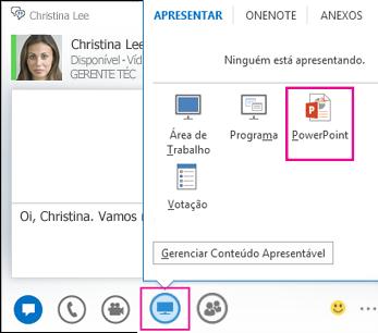Captura de tela da adição do PowerPoint a uma mensagem instantânea