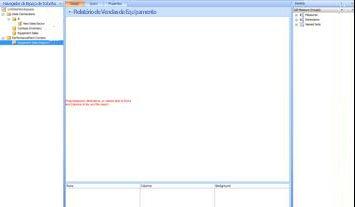 Página do Dashboard Designer em branco para o relatório Vendas de Equipamento