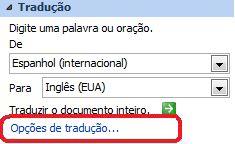 Opções de tradução