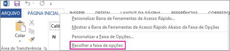 Comando Recolher Faixa de Opções depois que você clica com o botão direito do mouse em uma guia na faixa de opções do Word 2013