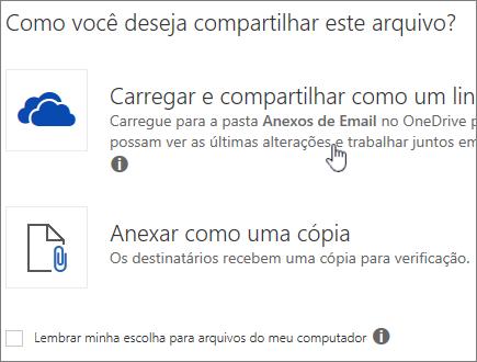 Captura de tela da caixa de diálogo Anexo mostrando a opção Carregar e anexar como arquivo do OneDrive.