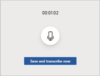A gravação inferir quando pausada com um data/hora na parte superior, um botão de retomada no meio e um botão Salvar e transcrever na parte inferior.