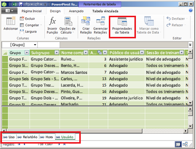 Janela com guias do PowerPivot