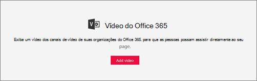 Web part de vídeo do Office 365
