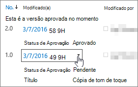 Botão de caixa de diálogo do menu suspenso de versão
