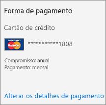 A seção Forma de pagamento de um cartão de Assinatura para uma assinatura paga por cartão de crédito.