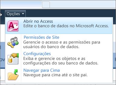 O menu Opções de um site de banco de dados da Web no SharePoint