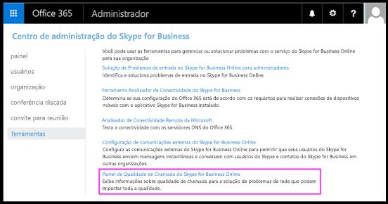 Ferramentas do Skype for Business