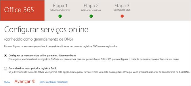 Configurar serviços online
