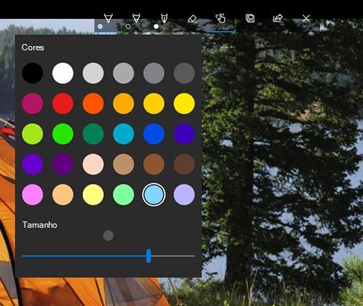 Opções de desenho no aplicativo Fotos Microsoft