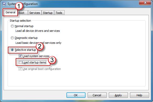 Configuração do Sistema - Guia Geral - Opção de inicialização seletiva marcada