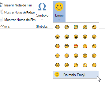 Clique em mais emojis no botão emojis na guia Inserir para escolher entre todos os emojis disponíveis.