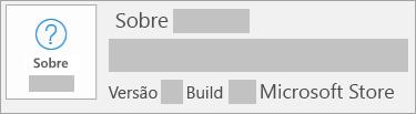 Captura de tela mostrando a versão e o build disponíveis na Microsoft Store