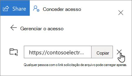 A opção para remover um link de acesso no OneDrive for Business