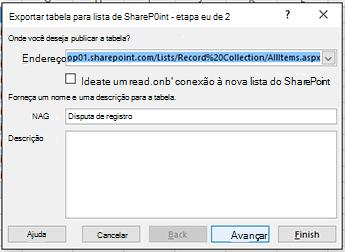 Exportar para página de caixa de diálogo do SharePoint 1