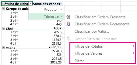 Opções de filtragem de dados de tabela dinâmica