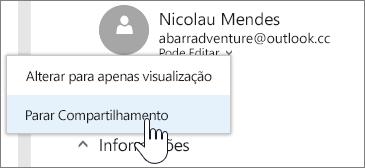 Captura de tela da escolha das permissões de uma pessoa e interrupção do compartilhamento