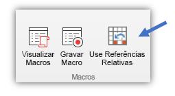 """captura de tela mostrando o botão """"Usar Referências Relativas"""""""