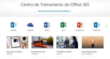 Home page do Centro de Treinamento do Office com ícones para os diferentes aplicativos do Office e blocos para os tipos de conteúdo disponíveis