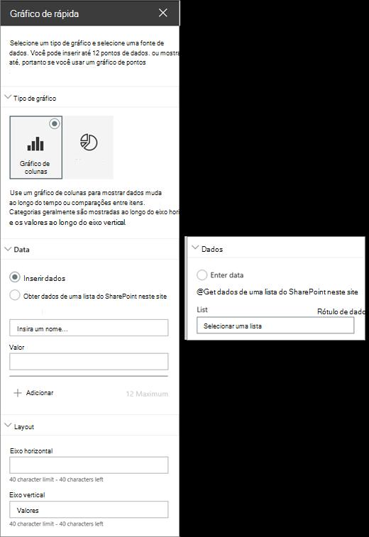 Configurações de web part gráfico rapidamente