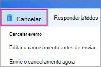 Opções de cancelamento da reunião