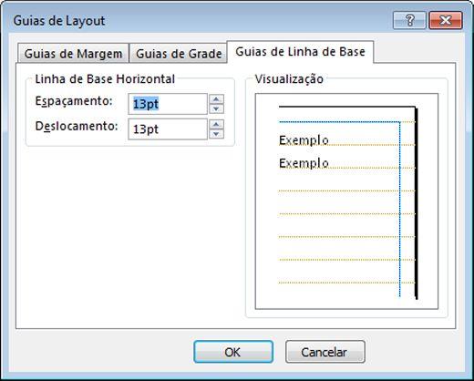 Caixa de diálogo Guia de Layout do Publisher exibindo a guia Guias de Linha de Base