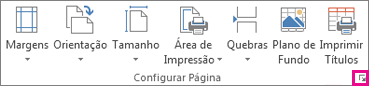 Iniciador de caixa de diálogo no grupo Configurar Página