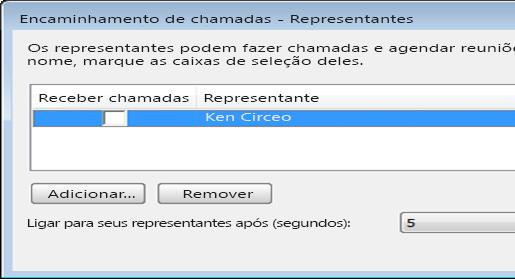 Captura de tela da adição de um representante no Lync