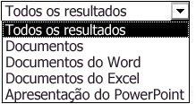 Opções de resultados incluindo Todos os Resultados, Documentos, Documentos do Word, Documentos do Excel e Apresentações do PowerPoint