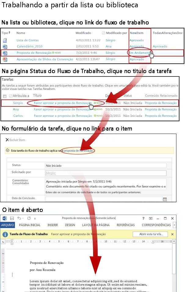 Acessando o item e o formulário da tarefa pela lista ou biblioteca