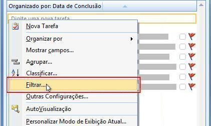 comando filtro para lista de tarefas pendentes