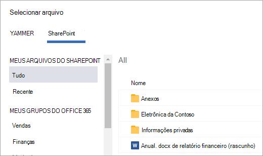 Lista de arquivos do SharePoint