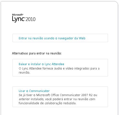 Imagem de janela do navegador do Lync